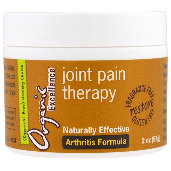 Organic Excellence, Joint Pain Therapy, Arthritis Formula, Fragrance Free, 2 oz (57 g) (Discontinued Item)