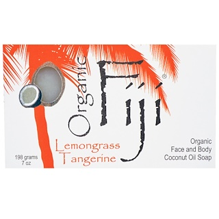 Organic Fiji, Organic Face and Body Coconut Oil Soap Bar, Lemongrass Tangerine, 7 oz (198 g)