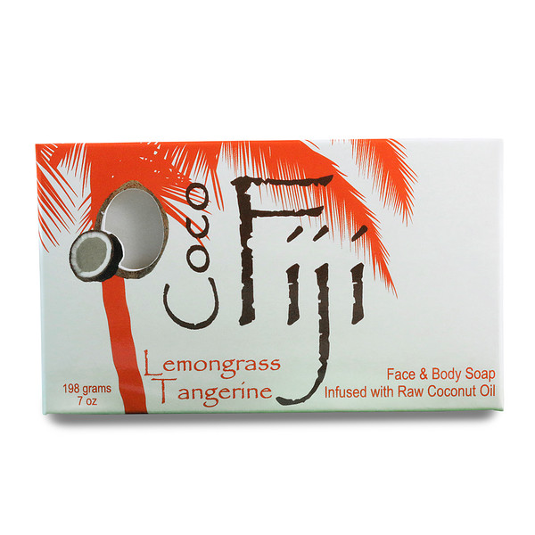 Organic Fiji, Organic Face and Body Coconut Oil Soap Bar, Lemongrass Tangerine, 7 oz (198 g) (Discontinued Item)