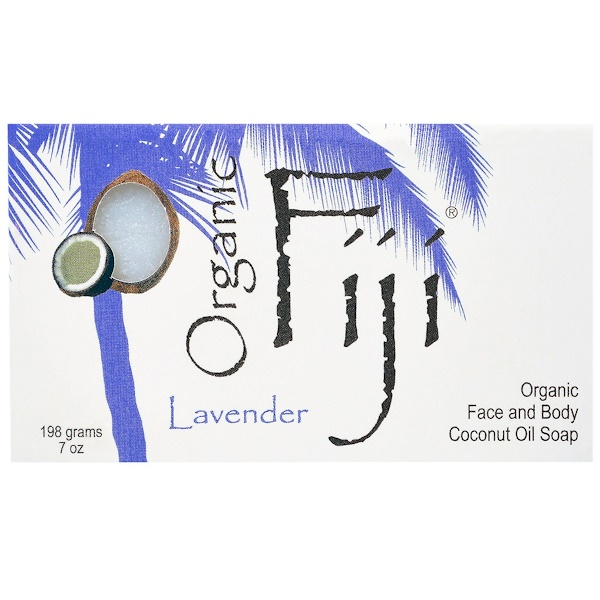Organic Fiji, Organic Face and Body Coconut Oil Soap Bar, Lavender, 7 oz (198 g)