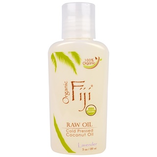 Organic Fiji, Organic Raw Oil, Cold Pressed Coconut Oil, Lavender, 3 oz (89 ml)