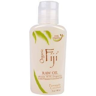 Organic Fiji, Organic Raw Oil, Cold Pressed Coconut Oil, Pineapple Coconut, 3 oz (89 ml)