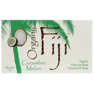 Organic Fiji, Organic Face and Body Coconut Oil Soap Bar, Cucumber Melon, 7 oz (198 g)