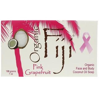 Organic Fiji, オーガニックフェイスアンドボディーココナッツオイルソープバー、ピンクグレープフルーツ、7オンス (198 g)