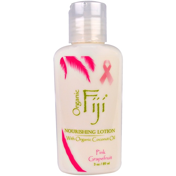 Organic Fiji, Nourishing Lotion with Organic Coconut Oil, Pink Grapefruit, 3 oz (89 ml)