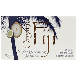 Organic Fiji, Organic Face and Body Coconut Oil Soap Bar, Night Blooming Jasmine, 7 oz (198 g)