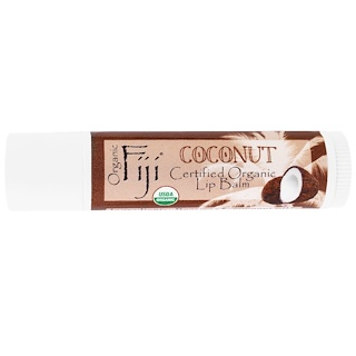 Organic Fiji, Certified Organic Lip Balm, Coconut, 0.15 oz (4.25 g)