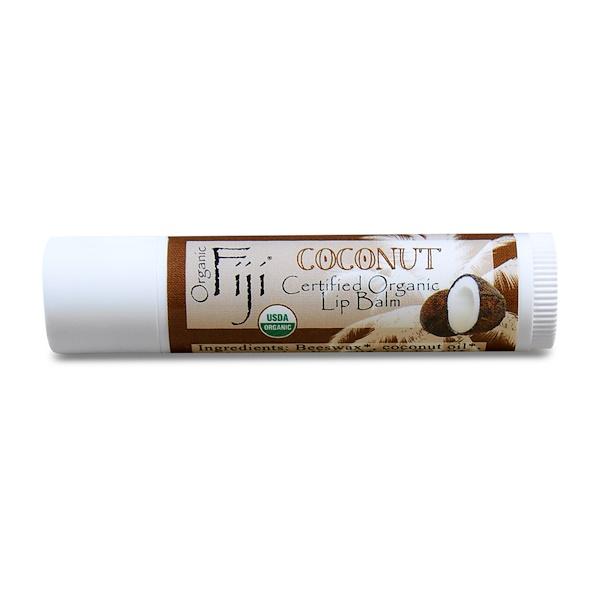 Organic Fiji, Certified Organic Lip Balm, Coconut, 0.15 oz (4.25 g) (Discontinued Item)