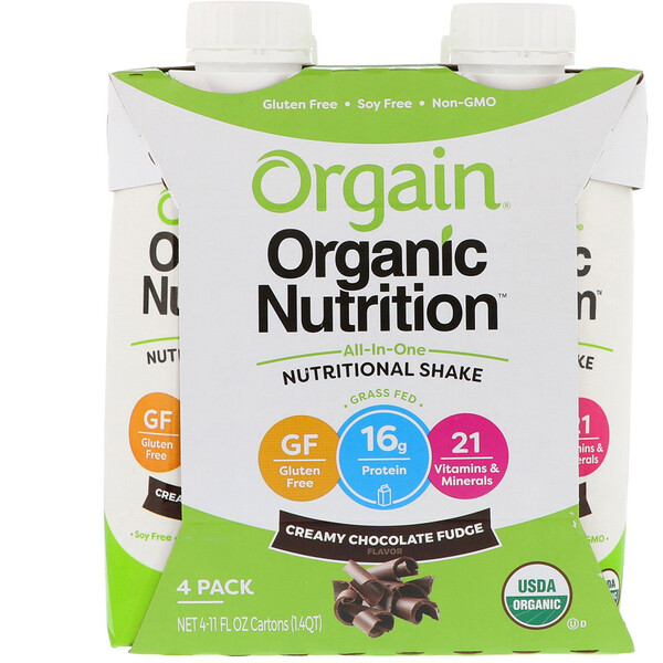 Orgain, Organic Nutrition, All In One Nutritional  Shake, Creamy Chocolate Fudge, 4 Pack, 11 fl oz Each