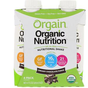 Оргаин, Organic Nutrition, All In One Nutritional  Shake, Creamy Chocolate Fudge, 4 Pack, 11 fl oz Each отзывы