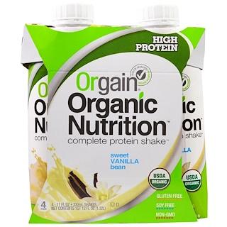 Orgain, 有機全面營養蛋白飲料,香甜香草豆味,4瓶,11 fl oz (330 ml)