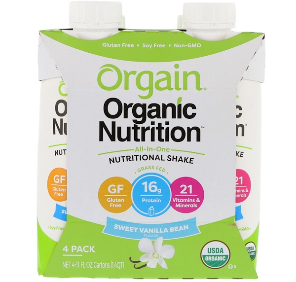 Orgain, Organic Nutrition, All In One Nutritional Shake, Sweet Vanilla Bean, 4 Pack, (11 fl oz) Each