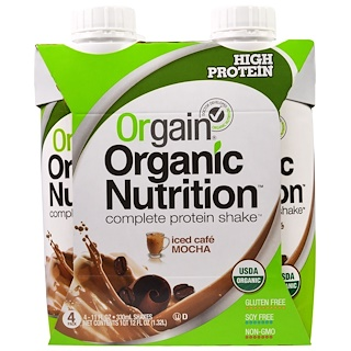 Orgain, Organic Nutrition Complete Protein Shake, Iced Cafe Mocha, 4 Pack, 11 fl oz (330 ml)