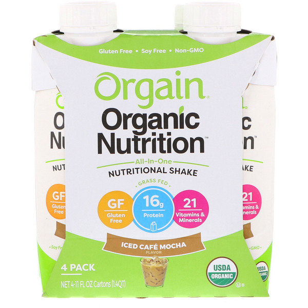 Orgain, All In One Nutritional Shake, Iced Cafe Mocha, 4 Pack, 11 fl oz Each (Discontinued Item)
