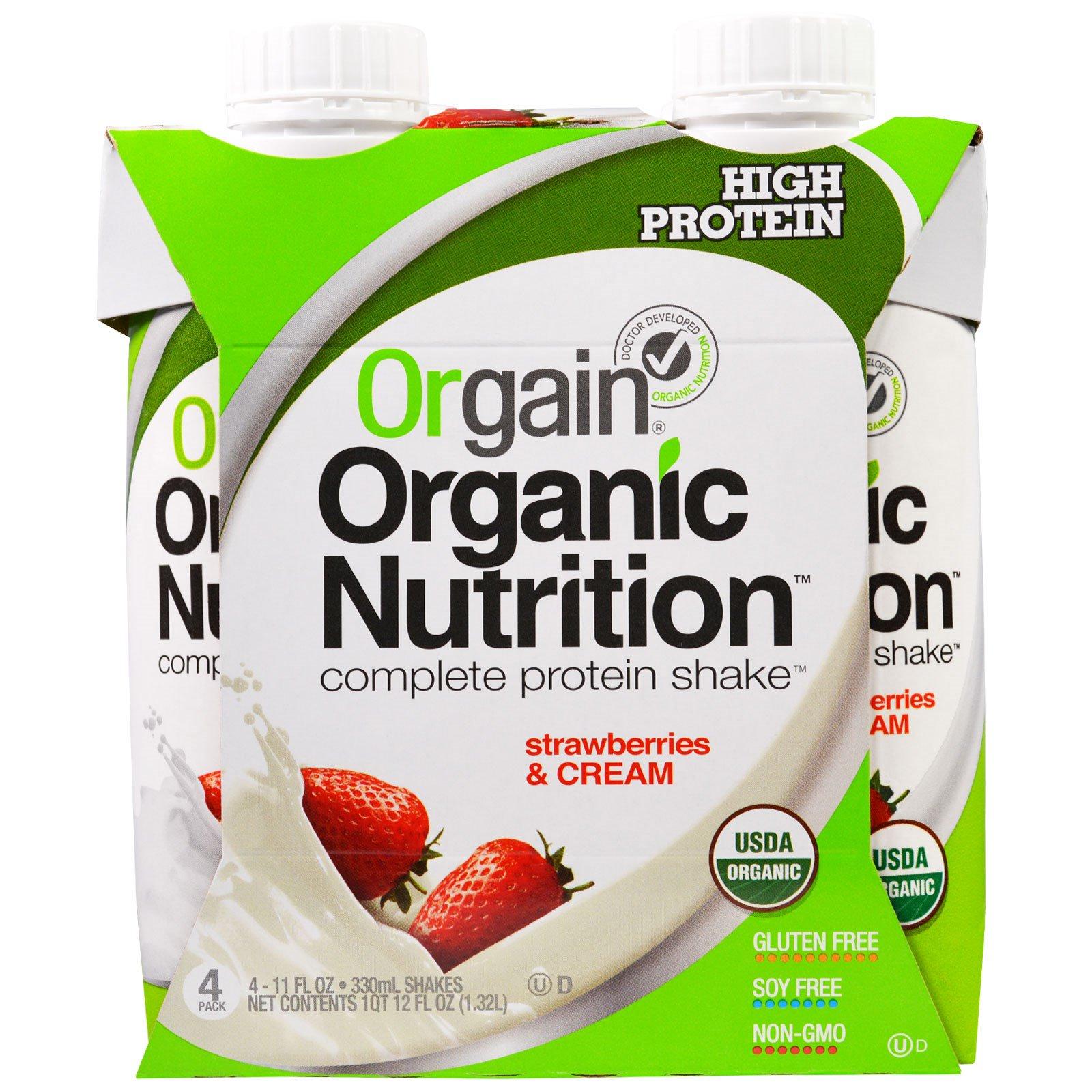 Orgain, Органический питательный полный белковый коктейль, клубника и сливки, 4 шт. в упаковке, по 11 жидк. унц. (330 мл) каждый
