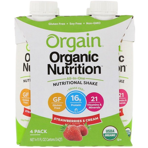 Orgain, Organic Nutrition, All In One Nutritional Shake, Strawberries & Cream, 4 Pack, (11 fl oz) Each (Discontinued Item)
