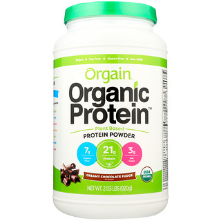 Orgain, Organic Protein Plant Based Powder, Creamy Chocolate Fudge, 2.03 lbs (920 g)