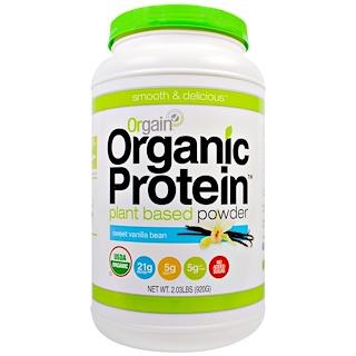 Orgain, Органический белковый порошок на растительной основе, со вкусом сладкой ванили, 920 г (2.03 фунта)