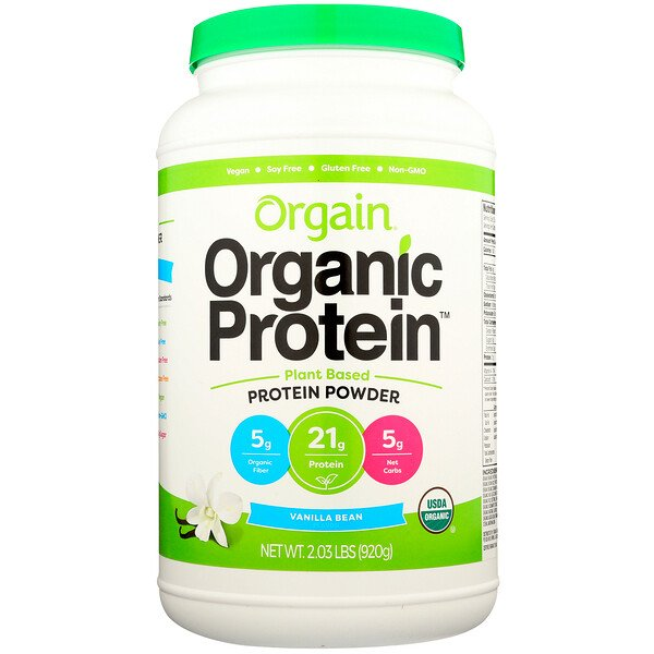 Poudre de protéines bio, d'origine végétale, gousse de vanille, 920 g (2,03 lb)