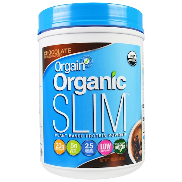 Orgain, Organic Slim Plant Based Protein Powder, Chocolate, 1.02 lbs (462 g) (Discontinued Item)