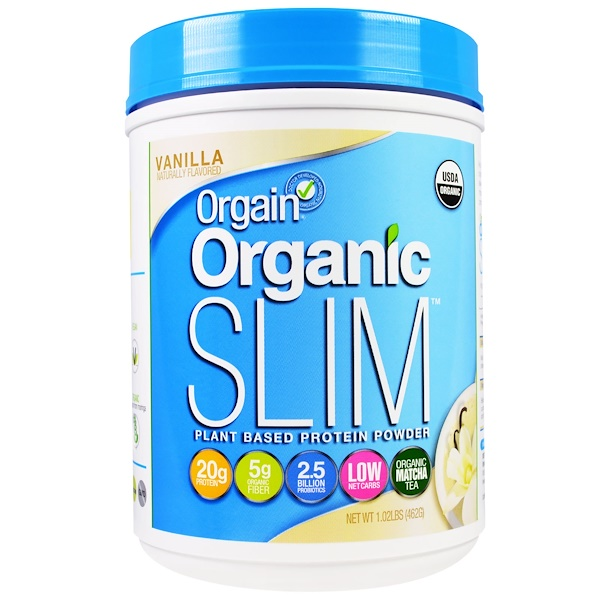 Orgain, Organic Slim Plant Based Protein Powder, Vanilla, 1.02 lbs (462 g) (Discontinued Item)