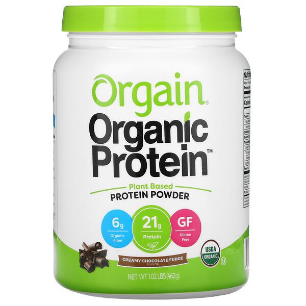 Organic Protein Powder, Plant Based, Creamy Chocolate Fudge, 1.02 lb (462 g)