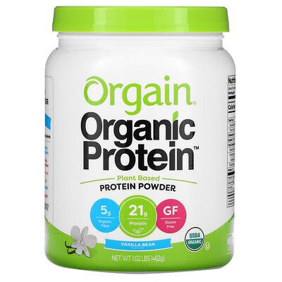 Orgain Organic Protein Powder, Plant Based, Vanilla Bean, 1.02 lb (462) g