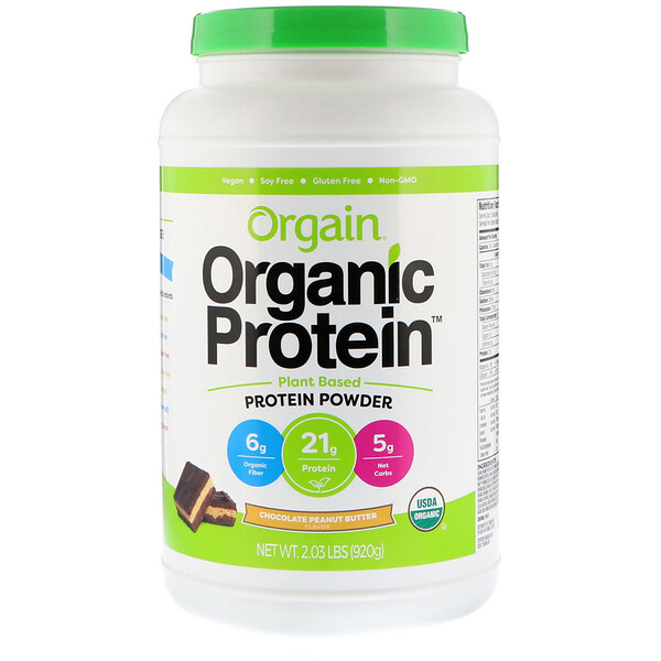 Organic Protein Powder, Plant Based, Chocolate Peanut Butter, 2.03 lb (920 g)