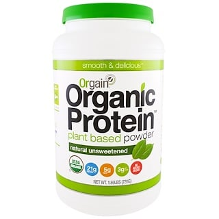 Orgain, Organic Protein Plant Based Powder, Natural Unsweetened, 1.59 lbs (720 g)