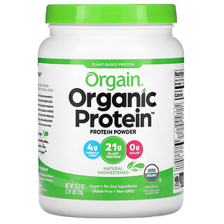 Orgain, Organic Protein Powder, Plant Based, Natural Unsweetened, 1.59 lbs (720 g)