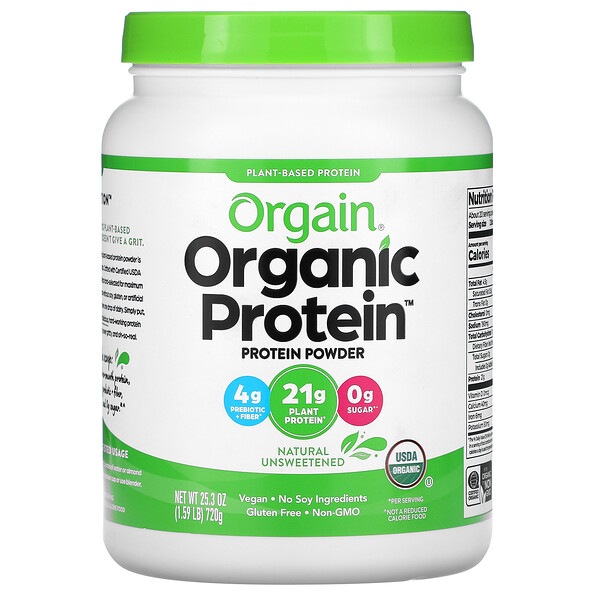 Organic Protein Powder, Plant Based, Natural Unsweetened, 1.59 lbs (720 g)