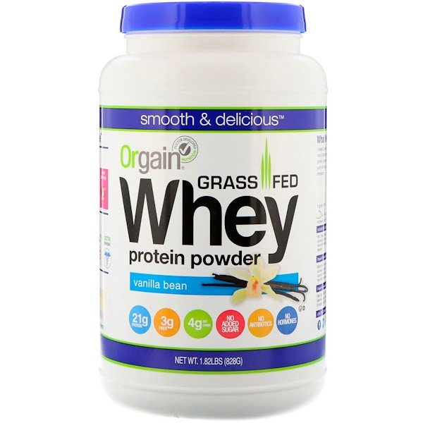 Orgain, Grass-Fed Whey Protein Powder, Vanilla Bean, 1.82 lbs (828 g)