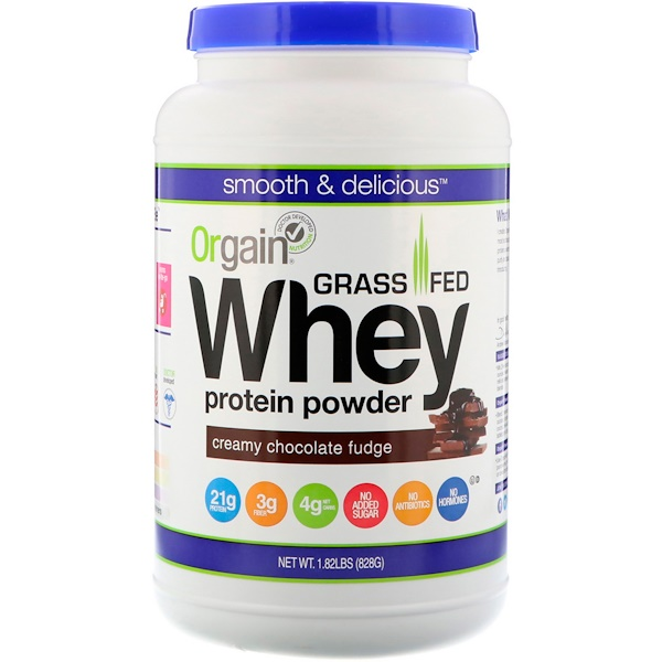 Orgain, Grass-Fed Whey Protein Powder, Creamy Chocolate Fudge, 1.82 lbs (828 g)