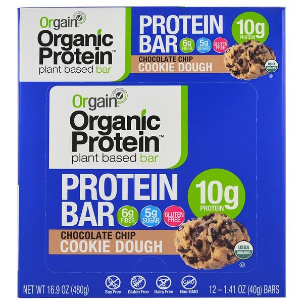 Orgain, Organic Plant-Based Protein Bar, Chocolate Chip Cookie Dough, 12 Bars, 1.41 oz (40 g) Each