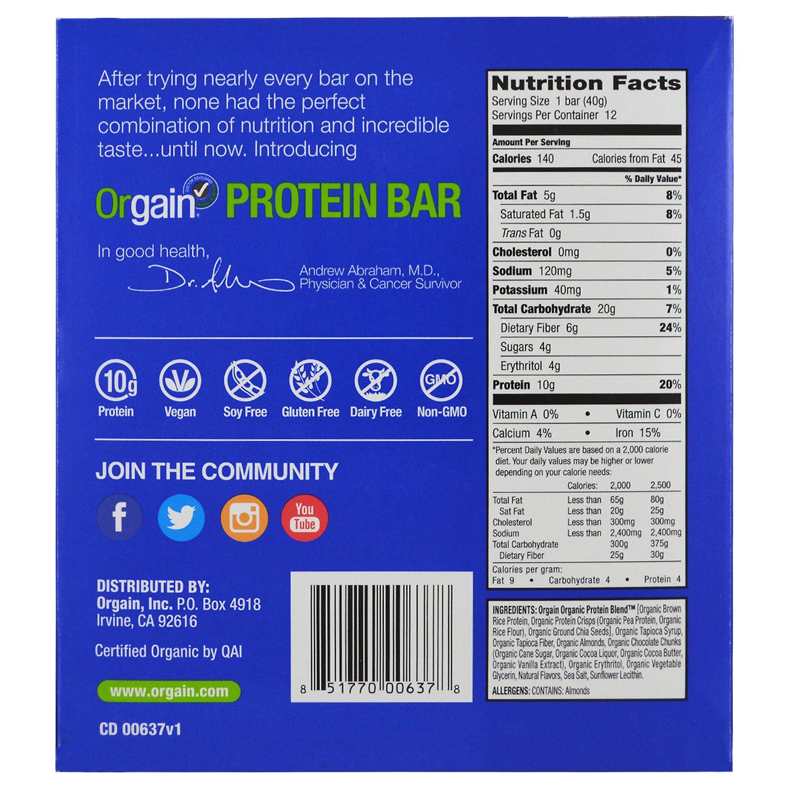 Orgain, Organic Plant-Based Protein Bar, S'mores, 12 Bars, 1 41 oz
