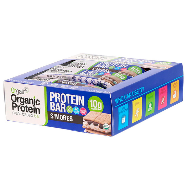 Organic Plant-Based Protein Bar, S'mores, 12 Bars, 1.41 oz (40 g) Each