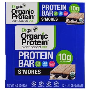 Orgain, Органический протеиновый батончик на растительной основе, S'mores, 12 батончиков, 40 г (1,41 унции) каждый