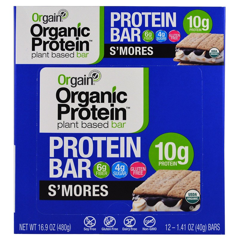 Orgain, Organic Plant-Based Protein Bar, S'mores, 12 Bars, 1.41 oz (40 g) Each - photo 1