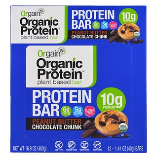 Orgain, Organic Plant-Based Protein Bar, Peanut Butter Chocolate Chunk, 12 Bars, 1.41 oz (40 g) Each