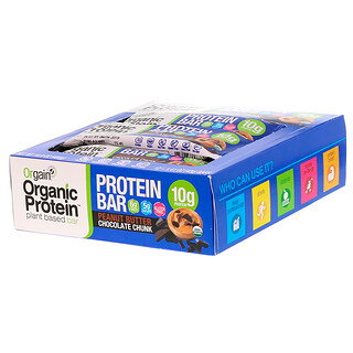 Orgain, Organic Plant-Based Protein Bar, Peanut Butter Chocolate Chunk, 12 Bars, 1.41 oz (40 g) Each