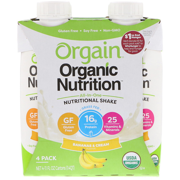 :Orgain, Organic Nutrition, All-in-One Nutritional Shake, Bananas & Cream, 4 Pack, 11 fl oz Each