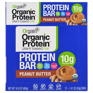 Orgain, Organic Plant-Based Protein Bar, Peanut Butter, 12 Bars, 1.41 oz (40 g) Each