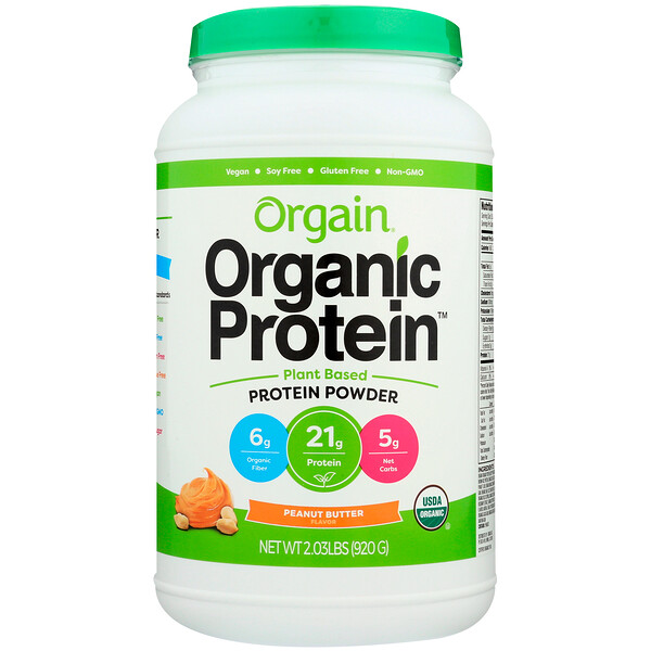 Orgain, Organic Protein Powder, Plant Based, Peanut Butter, 2.03 lb (920 g) (Discontinued Item)