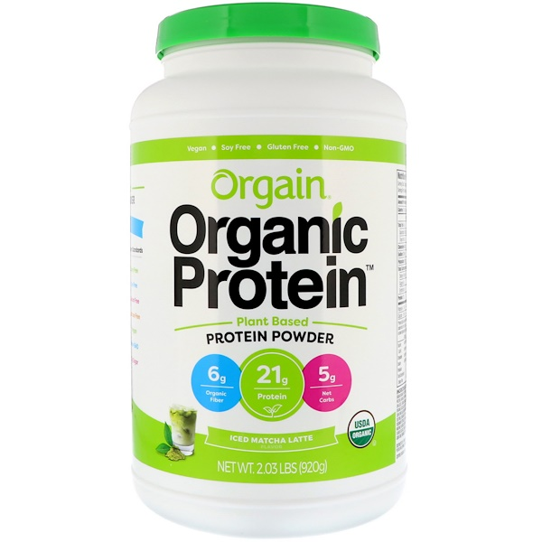 Orgain, Organic Protein Powder, Plant Based, Iced Matcha Latte, 2.03 lbs (920 g) (Discontinued Item)
