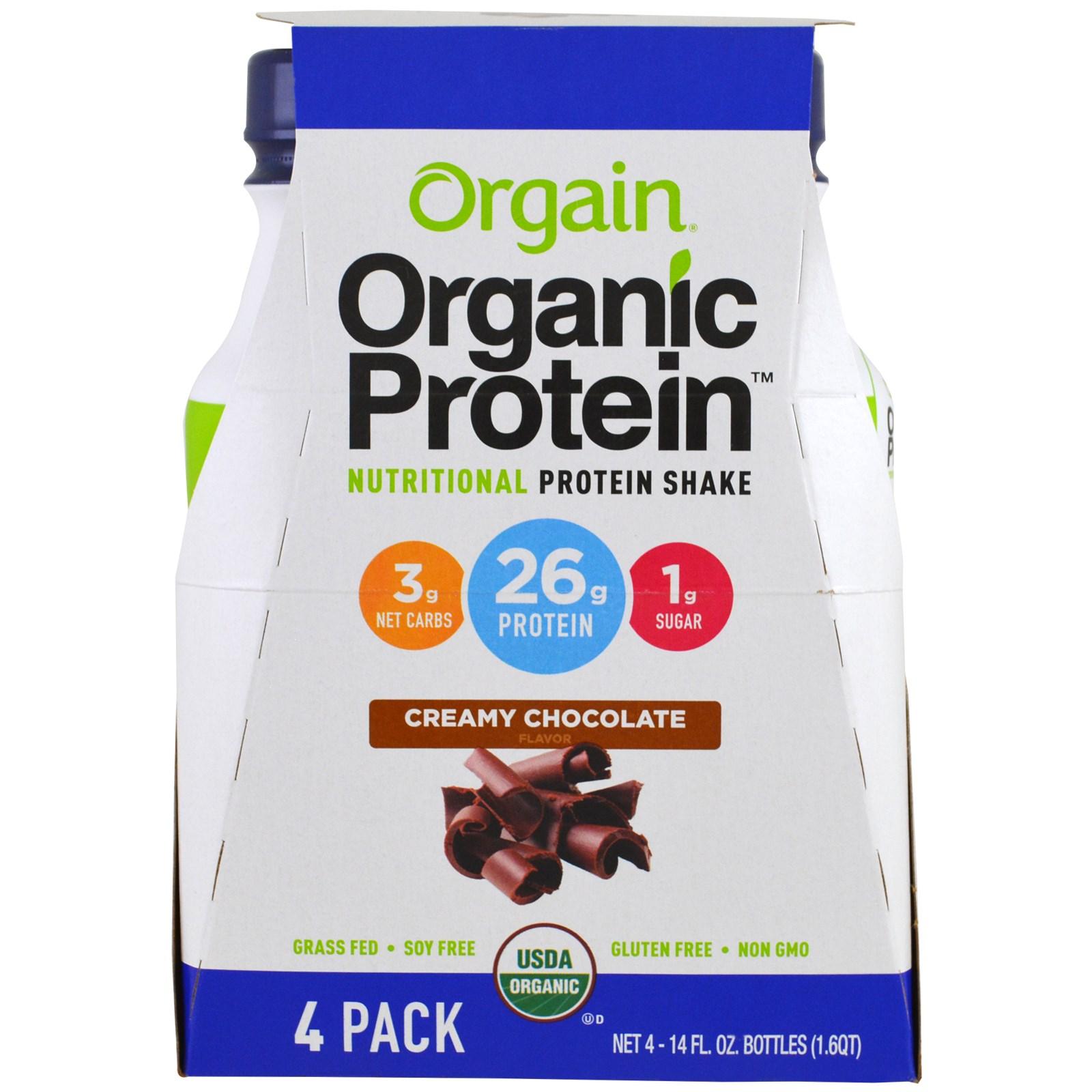 Orgain, Органический питательный белковый коктейль, сливочный шоколад, 4 упаковки, 14 жидких унций (414 мл) каждый