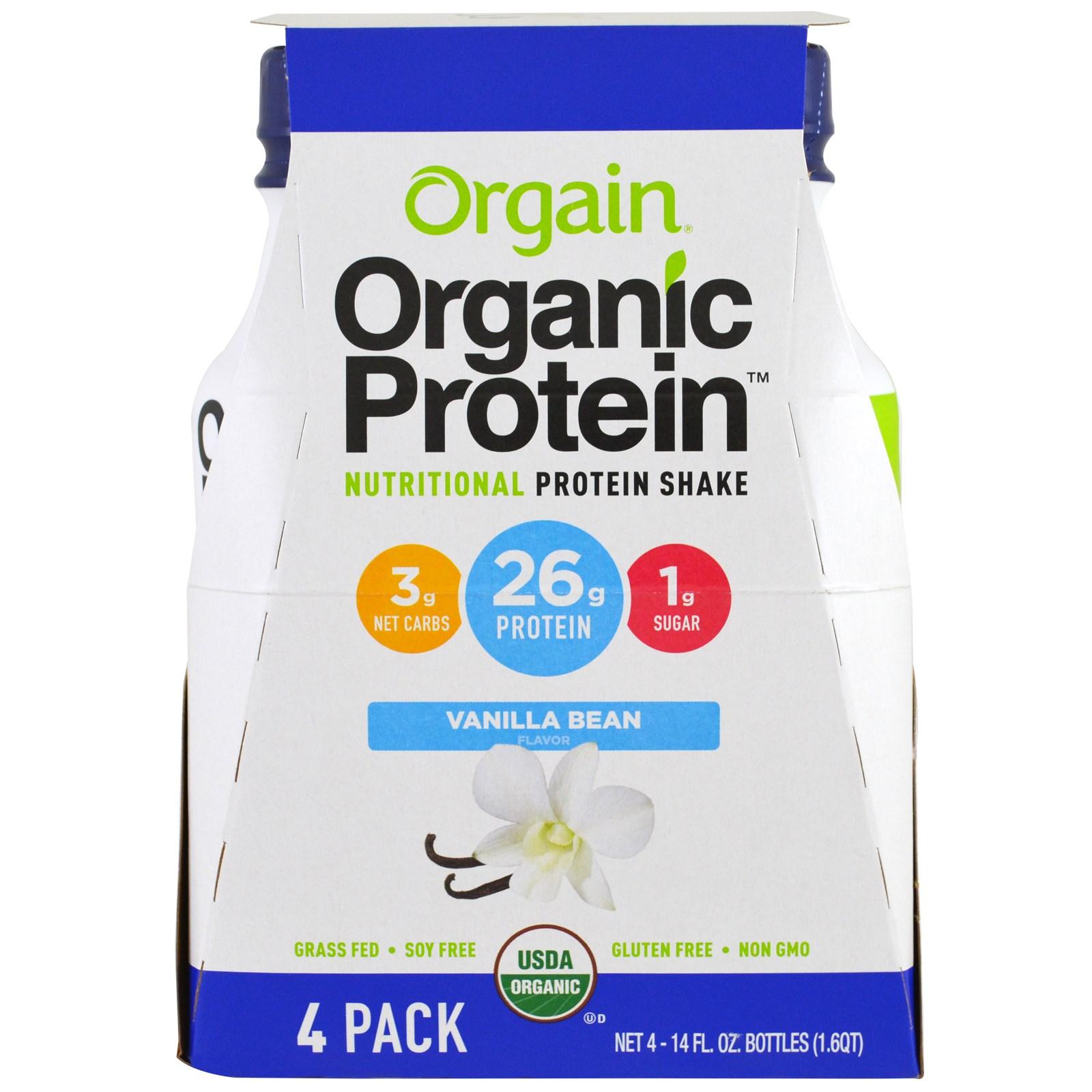 Orgain, Органический протеиновый питательный коктейль, ваниль, 4 пакета, 14 жидких унций (414 мл) каждый