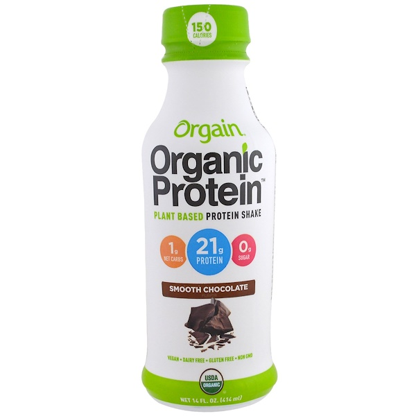 Orgain, Organic Protein Plant Based Protein Shake, Smooth Chocolate Flavor, 14 fl oz (414 ml) (Discontinued Item)