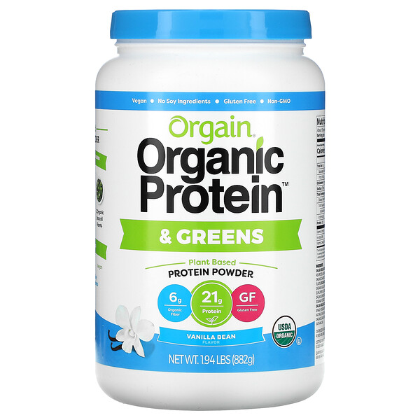 Organic Protein & Greens Protein Powder, Plant Based, Vanilla Bean, 1.94 lbs (882 g)