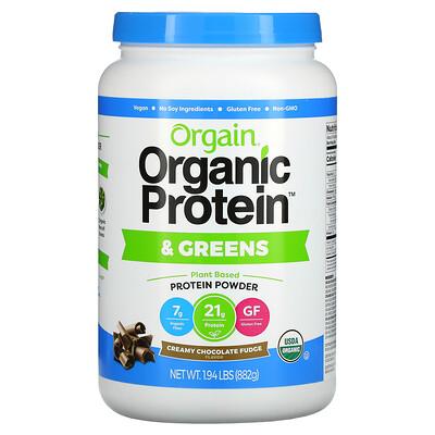 Orgain Organic Protein & Greens, Plant Based Protein Powder, Creamy Chocolate Fudge, 1.94 lbs (882 g)