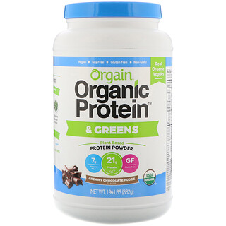 Orgain, Organic Protein & Greens Protein Powder, Plant Based, Creamy Chocolate Fudge, 1.94 lbs (882 g)